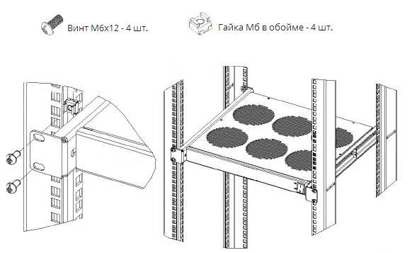 Схема монтажа вентиляторного модуля в 19 стойку