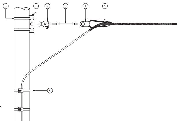 Монтаж кабеля для спуска с